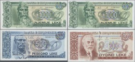 Albania: 200, 500 and 1000 Leke 1996 and 1000 Leke 1995, P.59, 60, 61a,c in UNC (except P.61a in XF). (4 pcs.)