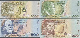 Albania: Set with 5 banknotes 1996 issue with 100, 200, 500, 1000 and 5000 Leke, P.62-66, all in UNC condition. (5 pcs.)