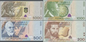 Albania: Set with 4 banknotes of the 2001 issue with 200, 500, 1000 and 5000 Leke, P.67-70, all in UNC condition. (4 pcs.)