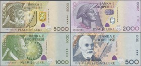 Albania: Set with 5 banknotes of the 2007 issue with 200, 500, 1000, 2000 and 5000 Leke, P.71-75, all in UNC condition. (5 pcs.)