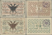 Albania: Pair with 1/2 and 1 Frange 1917 of the Albanian Self Government, P.S141a, S142b, both in about F/F+ condition. (2 pcs.)