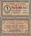 Albania: Municipality of Vlorë/Valona 1 Frank Kart 1924, P.S183, almost well worn with larger tears and tiny holes at center. Condition: F-