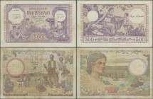 Algeria: Banque de l'Algérie 1000 Francs 1942 P.86 (F) and 500 Francs 1944 P.95 (F/F+ with pinholes). (2 pcs.)