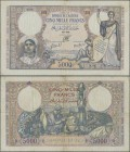 Algeria: Banque de l'Algérie 5000 Francs 1942, P.90, still nice with a number of pinholes at left, some border tears and several folds. Condition: F