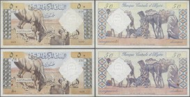 Algeria: set of 2 notes 50 Dinars 1964 P. 124, both in lightly used condition, not washed or pressed, still crispness in paper and nice colors, condit...