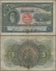 Angola: 5 Mil Reis 1909, P.32, rusty spots, taped tear, Condition: F. Highly Rare!