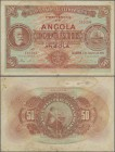Angola: Banco Nacional Ultramarino - Provincia de Angola 50 Escudos 1921, P.60, lightly stained, margin split, tiny pinholes and stronger fold at cent...
