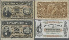Argentina: Pair of 5 Centavos Republica Argentina L.1883 (1884), Printer ABNC with signatures: Roca & Casares and Roca & Pacheco, both P.5 in F- and F...