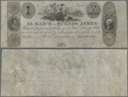 Argentina: El Banco de Buenos Ayres 1 Peso ND(1827-29), P.S328, very nice and highly rare banknote and in excellent condition for it's age, just a few...