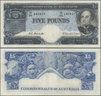 Australia: Commonwealth of Australia 5 Pounds ND(1954-59), P.31, still nice with bright colors and strong paper, obviously washed. Condition: F+