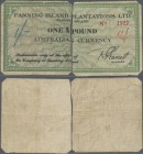 Australia: Fanning Islands left and right half of the 1 Pound ND(1942), P.NL (SB1541) with annotations on both halfs with several folds and stained pa...
