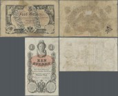 Austria: 1 Gulden 1858 P.A84 (F+) and 5 Gulden 1866 P.A151 (F-). (2 pcs.)