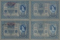 "Austria: 1000 Kronen 1902 (1919) with stamp ""Note echt, Stempel falsch"" P.57b (XF) and 1000 Kronen 1902 (1919) with stamp ""Echt - Oesterreichisch-Unga..."