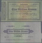 "Austria: 1.000.000 Kronen 1922 P. 82s with ""Muster"" perforation at center, highly rare banknote issue, with a stronger center fold, light creases at l..."