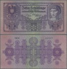 Austria: 10 Schilling 1925 P. 89, stronger center fold, horizontal fold and creases in paper, center hole, still strongness in paper and original colo...