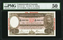 Australia Commonwealth Bank of Australia 10 Shillings ND (1934) Pick 20 R10 PMG About Uncirculated 50. Minor stains; pinholes.  HID09801242017
