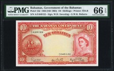 Bahamas Bahamas Government 10 Shillings 1936 (ND 1963) Pick 14d PMG Gem Uncirculated 66 EPQ.   HID09801242017