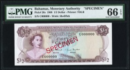 Bahamas Monetary Authority 1/2 Dollar 1968 Pick 26s Specimen PMG Gem Uncirculated 66 EPQ.   HID09801242017