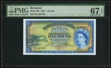 Bermuda Bermuda Government 1 Pound 1.5.1957 Pick 20c PMG Superb Gem Unc 67 EPQ. With security strip.  HID09801242017