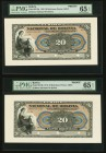 Bolivia Banco Nacional de Bolivia 20 Bolivianos 1910 Pick S217fp Two Front Proofs PMG Gem Uncirculated 65 EPQ. Three POCs.  HID09801242017