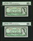 Canada Bank of Canada $1 1954 BC-37bA-i Two Replacement Examples PMG Gem Uncirculated 65 EPQ; Gem Uncirculated 66 EPQ.   HID09801242017