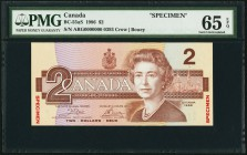 Canada Bank of Canada $2 1986 BC-55aS Specimen PMG Gem Uncirculated 65 EPQ.   HID09801242017