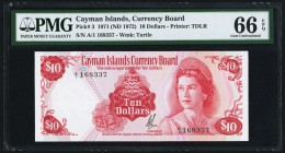 Cayman Islands Currency Board 10 Dollars 1971 (ND 1972) Pick 3 PMG Gem Uncirculated 66 EPQ.   HID09801242017