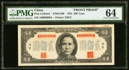 China Central Bank of China 200 Yuan 25.3.1945 Pick UNL S/M # C300 Front Proof PMG Choice Uncirculated 64.   HID09801242017