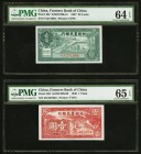 China Farmers Bank of China 20 Cents; 1 Yuan 1937; 1940 Pick 462; 463 Two Examples PMG Choice Uncirculated 64 EPQ; Gem Uncirculated 65 EPQ.   HID09801...
