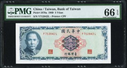 China Bank of Taiwan 5 Yuan 1969 Pick 1978a PMG Gem Uncirculated 66 EPQ.   HID09801242017