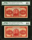 China Central Reserve Bank of China 5 Yuan 1940 Pick J10e Two Examples S/M#C297-23 PMG Gem Uncirculated 65 EPQ; Choice Uncirculated 64 EPQ. As made in...