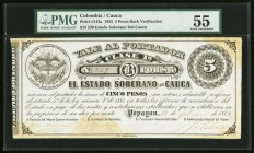 Colombia Banco de Cauca 5 Pesos 1882 Pick S142a PMG About Uncirculated 55. Hand signed; discoloration.  HID09801242017