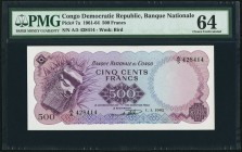 Congo, Democratic Republic Banque Nationale du Congo 500 Francs 1.1.1962 Pick 7a PMG Choice Uncirculated 64.   HID09801242017