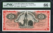 Costa Rica Banco Central de Costa Rica 20 Colones 1.1.1906 Pick S179r Remainder PMG Gem Uncirculated 66 EPQ.   HID09801242017