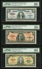 Cuba Banco Nacional de Cuba Lot Of Six PMG Graded Examples. 1 Peso 1949 Pick 77a PMG Choice About Unc 58 EPQ. 5 Pesos 1949 Pick 78a PMG About Uncircul...