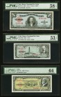 Cuba Banco Nacional de Cuba Lot Of Six PMG Graded Examples. 1 Peso 1949 Pick 77a PMG Choice About Unc 58 EPQ. 1 Peso 1958 Pick 87c ; PMG About Uncircu...