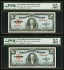 Cuba Banco Nacional de Cuba 1 Peso 1949 Pick 77a Two Consecutive Examples PMG About Uncirculated 55 EPQ.   HID09801242017