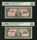 Cuba Banco Nacional de Cuba 500 Pesos 1950 Pick 83 Two Examples PMG About Uncirculated 53 EPQ; About Uncirculated 55.   HID09801242017