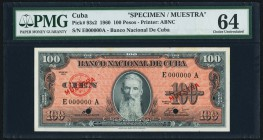 Cuba Banco Nacional de Cuba 100 Pesos 1960 Pick 93s2 PMG Choice Uncirculated 64. Two POCs.  HID09801242017