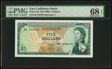 East Caribbean States Currency Authority 5 Dollars ND (1965) Pick 14d PMG Superb Gem Unc 68 EPQ.   HID09801242017