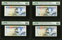East Caribbean States Central Bank, Montserrat 10 Dollars ND (1994) Pick 32m; 32u; 32v; 32l Four Examples PMG Gem Uncirculated 66 EPQ; Choice Uncircul...