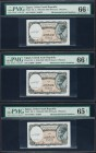 Egypt United Arab Republic 5 Piastres 1940 (ND 1197-98 Issue) Pick 185 Three Consecutive Mismatched Serial Number Examples PMG Gem Uncirculated 66 EPQ...