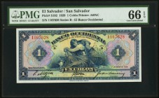 El Salvador Banco Occidental 1 Colon 1.1.1929 Pick S192 PMG Gem Uncirculated 66 EPQ.   HID09801242017