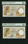 France Banque de France 100 Francs 1939-42 Pick 94 Two Consecutive Examples PMG Superb Gem Unc 67 EPQ.   HID09801242017