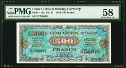 France Allied Military Currency 500 Francs 1944 Pick 119a PMG Choice About Unc 58.   HID09801242017