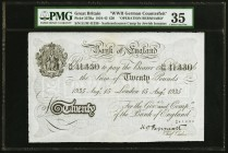 "Great Britain Bank of England 20 Pounds 15.8.1935 Pick 337Ba ""Operation Bernhard"" PMG Choice Very Fine 35.   HID09801242017"