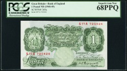 Great Britain Bank of England 1 Pounds ND (1948-49) Pick 369a PCGS Superb Gem New 68PPQ.   HID09801242017