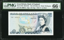 Great Britain Bank of England 5 Pounds ND (1973-80) Pick 378b PMG Gem Uncirculated 66 EPQ.   HID09801242017