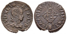 CATALOGNE / Louis XIII 1610-1643 Sizain, 1642 Barcelone, Cuivre 3.91 g. Ref : Dy.1391 Conservation : TTB+