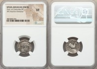 IBERIA. Bolscan (Osca). Ca. 150-100 BC. AR drachm (18mm, 1h). NGC VF. BON (Iberian), bearded male head right, wearing necklace / BOLSKAN (Iberian), ho...